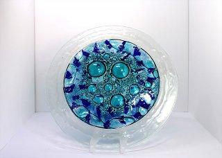 © KLArt.co.uk Blue Bubble Glass Plate