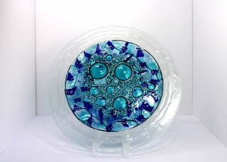 © KLArt.co.uk Blue Bubble Glass Plate