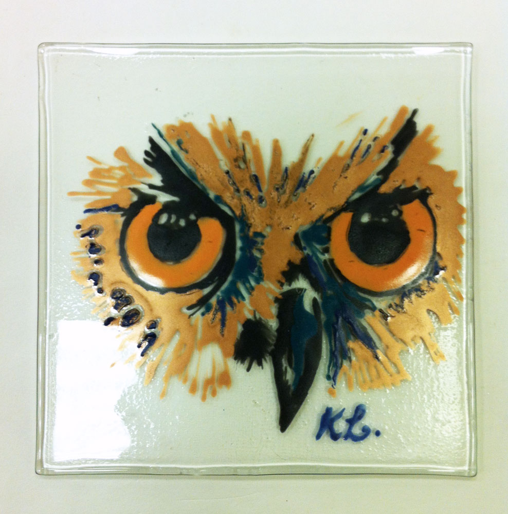© KLArt.co.uk Owl Glass panel