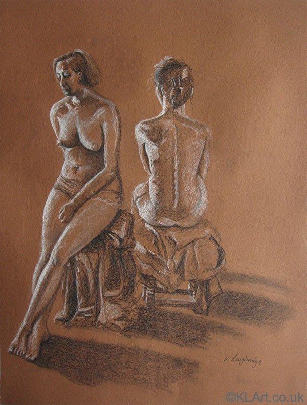 © KLArt.co.uk  Two Female Nudes Seated