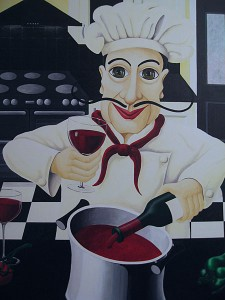 Close up of Salvatore chef  from the painting