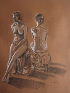 Image of two female nudes seated