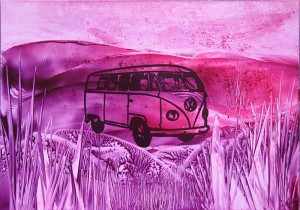 Encaustic painted VW camper van