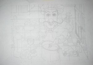 """Sketch for """"Salvatore Cooks For"""" Acrylic Painting"""