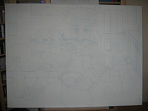 Salvatore outline on canvas