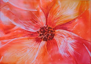 Encaustic painted Flower