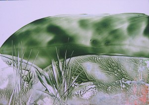 "Encaustic painted ""Green Landscape"""