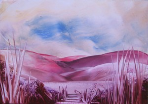 "Encaustic painted ""Purple Landscape"""