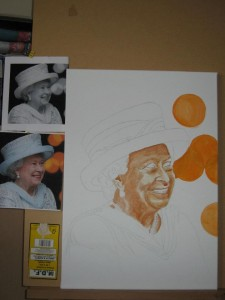 Outline sketch of the Queen on canvas