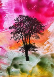 Encaustic Painted Tree