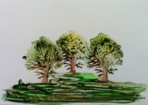 Encaustic painted Forest of three trees