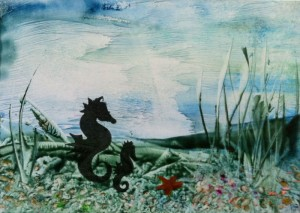 Encaustic painted seahorses