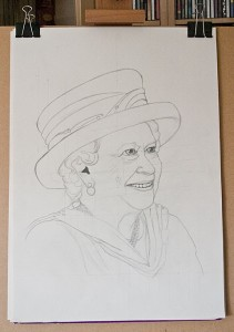 Outline pencil sketch of the Queen