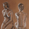 Pastel drawing of two female nudes seated