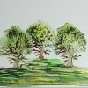 Image of Three Encaustic Painted Trees
