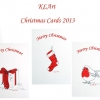 Christmas Cards - Polka dot christmas illustrations - Tree, Present, Stocking, Santa, Snowman, Robin - image only on front