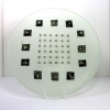 Portcullis Glass Plate opaque plate with a geometric arrangement of metallic elements embedded to create the appearance of a portcullis